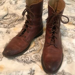 Frye Leather Lace Up Combat Boots